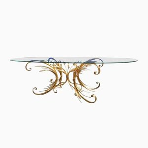 Hollywood Regency French Brass Coffee Table with Glass Top, 1960s