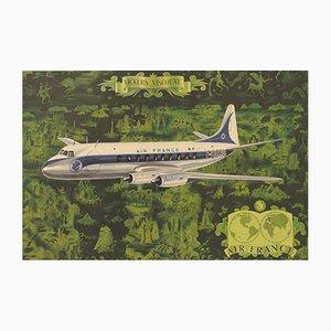 Affiche Air France Vickers Viscount par Lucien Boucher, 1953