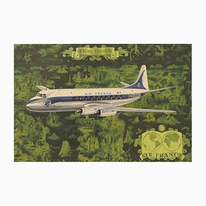 Air France Vickers Viscount Poster by Lucien Boucher, 1953