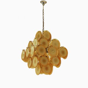 Lámpara de araña Mid-Century en amarillo con 36 discos de Gino Vistosi