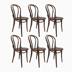 Curved Wooden Bistro Chairs, 1970s, Set of 6