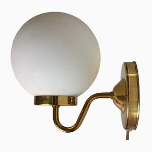 Danish Modern Brass & Opaline Glass Sconce from Abo Metalkunst, 1970s
