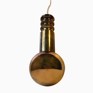 Lámpara colgante Mid- Century en forma de esfera dorada de Frimann, años 60