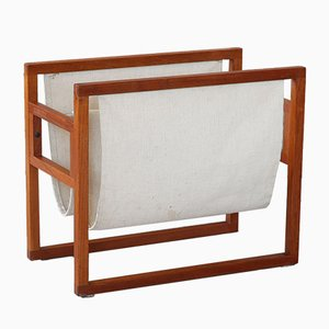 Teak and Linen Magazine Rack by Kai Kristiansen for Sika Mobler, 1960s