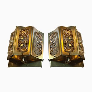 Danish Brass & Glass Wall Lamps by Vitrika, 1960s, Set of 2
