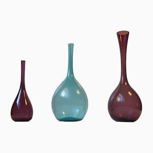 Vases Moderniste en Verre par Arthur Percy pour Gullaskruf, Suède, 1950s, Set de 3