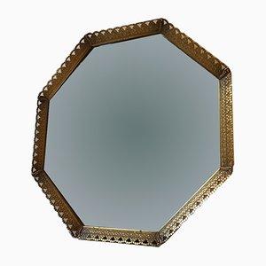 Espejo danés vintage de latón, años 50