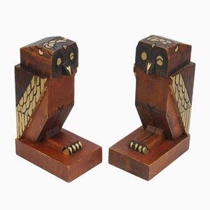 Art Deco Buchstützen aus Holz in Eulen-Optik, 1930er
