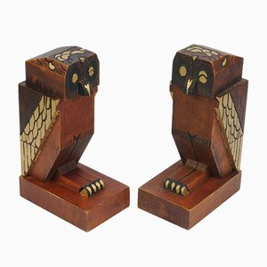 Art Deco Wooden Owl Bookends, 1930s