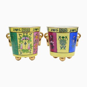 Chinoiserie Porcelain Cache Pots, 1930s, Set of 2