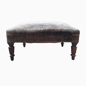 Antique French Crushed Velvet Pouf