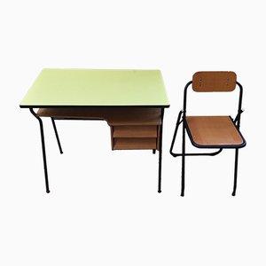 Scrivania da bambino vintage in formica gialla con sedia