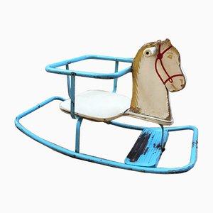 Vintage Blue Metal Rocking Horse