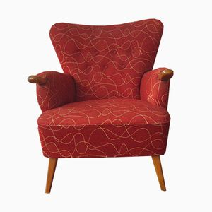 Red Wingback Lounge Chair, 1950s