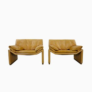 Lounge Chairs in Cognac Leather by Etienne Aigner, 1980s, Set of 2