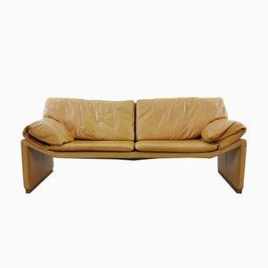 Sofá de dos plazas de cuero coñac de Etienne Aigner, años 80