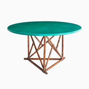 Mesa de comedor italiana vintage de bambú lacado, años 70