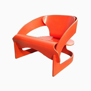 Model 4801 Orange Plywood Chair by Joe Colombo For Kartell, 1968