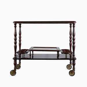Vintage Italian Wood & Glass Serving Trolley, 1970s
