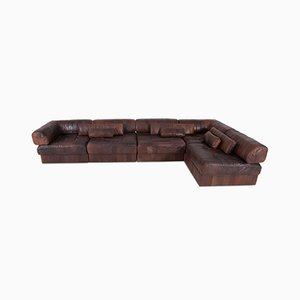 Brown & Cognac Leather Modular Sofa from de Sede