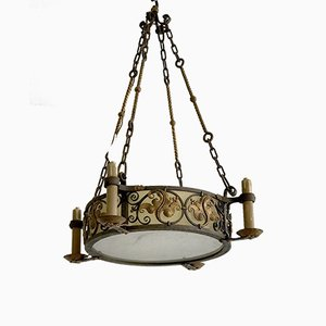 Wrought Iron Ceiling Lamp, 1930s