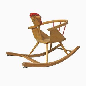 Vintage Wooden Rocking Horse from Baumann