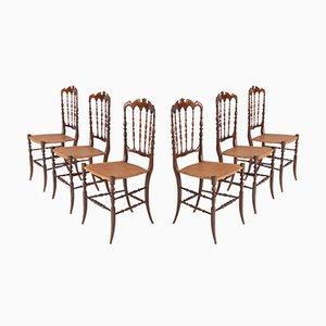 Antike Chiavari Esszimmerstühle aus Kirschholz & Korbgeflecht, 6er Set