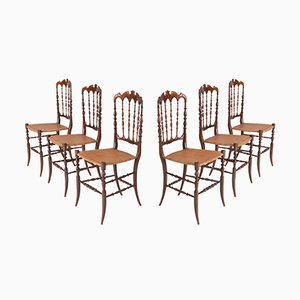 Antique Cherrywood & Wicker Chiavari Dining Chairs, Set of 6