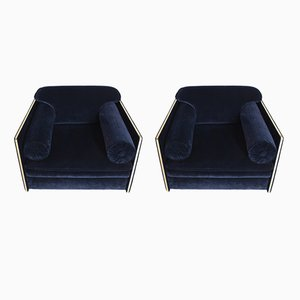 Vintage Italian Lounge Chairs in Dark Blue Velvet & Brass, Set of 2
