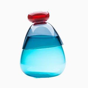 Jarrón Kount pequeño azul y rojo de Karim Rashid para Puhro