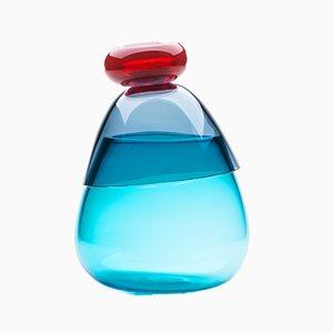 Vaso Kount grande blu e rosso di Karim Rashid per Puhro