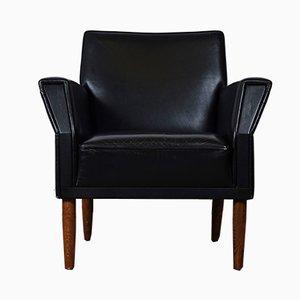 Dänische Mid-Century Sessel aus schwarzem Leder, 2er Set