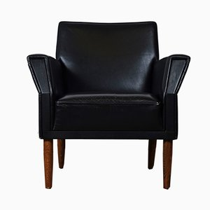 Mid-Century Danish Black Leather Easy Chairs, Set of 2