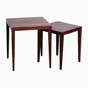 Tavolini ad incastro in palissandro di Severin Hansen per Haslev Møbelsnedkeri