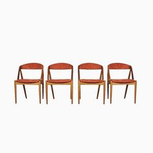 Modell 31 Esszimmerstühle von Kai Kristiansen für Schou Andersen,1960er, 4er Set