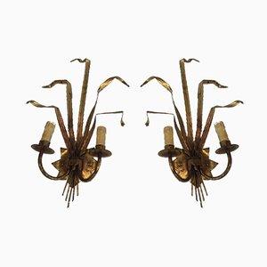 Apliques franceses en forma de gavilla de trigo dorado, años 60