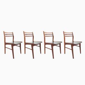 Dänische Mid-Century Esszimmerstühle aus Palisander & schwarzem Skai, 4er Set