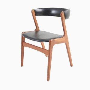 Chaise d'Appoint Vintage en Teck et Skaï Noir par Kai Kristiansen