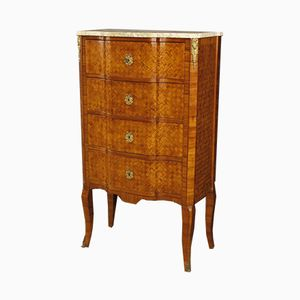 French Chest of Drawers in Rosewood with Marble Top, 1920s