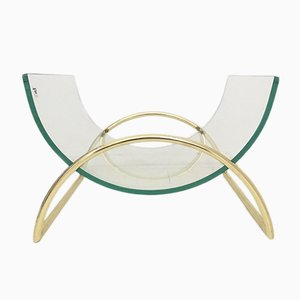 Italian Brass & Glass Magazine Rack by Galotti & Radice, 1970s