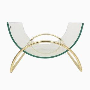 Revistero italiano de vidrio y latón de Galotti & Radice, años 70