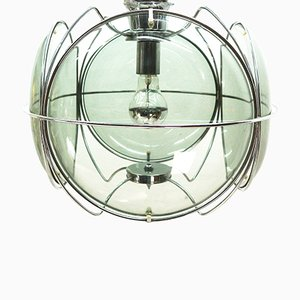 Space Age Ceiling Light with Smoked Glass Panes, 1970s