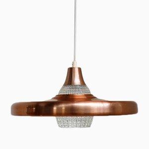 Lámpara colgante grande de cobre con pantalla de vidrio, años 60