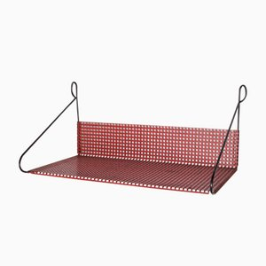 Dutch Red Perforated Metal Wall Shelf from Pilastro, 1960s