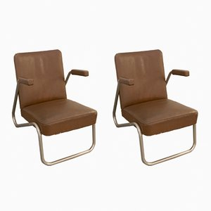 Small Vintage Tubular Lounge Chairs, Set of 2