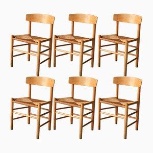 Folkestolen Esszimmerstühle von Borge Mogensen für FDB, 1969, 6er Set