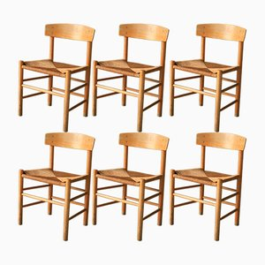 FolkestolenDining Chairs by Borge Mogensen for FDB, 1969, Set of 6