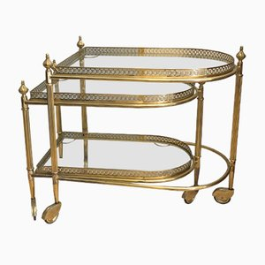 Small Brass and Glass Trolleys, 1940s, Set of 2