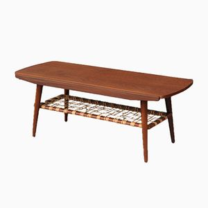 Mid-Century Dutch Coffee Table with Rattan Shelf