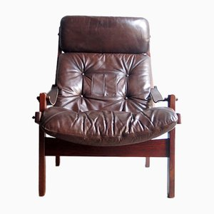 Vintage Brown Leather Hunter Chair by Torbjøn Afdal for Bruksbo